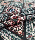 Silky Stretch Satin Fabric 55\u0022-Black Rust Diamond Floral Textured
