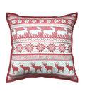 Maker\u0027s Holiday Christmas Farmhouse Pillow-Red Fair Isle