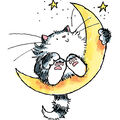 Penny Black Rubber Stamp 2.5\u0022X3-Cat On The Moon