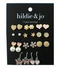 hildie & jo 11 Pair Gold & Silver Earrings-Pearls & Stones