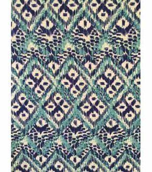 Knit Fabric 57''-Aqua & Navy Ethnic Diamond