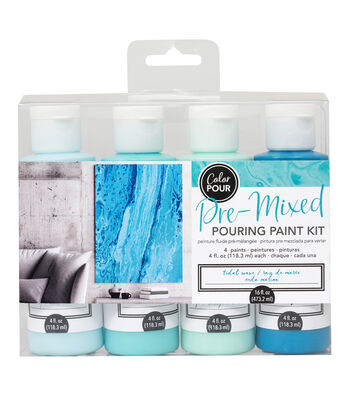 American Crafts Color Pour Pre-Mixed Paint Kit-Tidal Wave