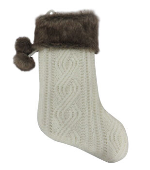 Handmade Holiday Christmas 21'' Knit Stocking with Fur-White