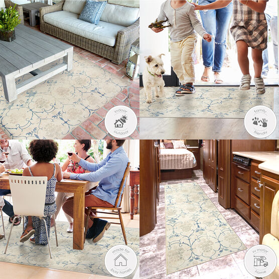 Ruggable Washable 2.5x7' Runner Rug Solid Textured Cream, , hi-res, image 5