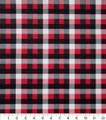 Christmas Cotton Fabric 43\u0022-Red Black White Plaid