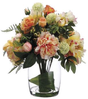 Bloom Room Luxe 18'' Rose, Peony & Allium In Glass-Pink