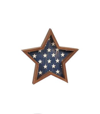 Americana Patriotic Wood Star-White Stars on Blue