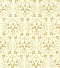 Christmas Cotton Fabric 43\u0022-Metallic Gold Scrolls