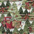 Christmas Cotton Fabric-Pine Trees & Fences