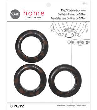 """Dritz 1.56"""" Curtain Grommets Brown 8pcs"""