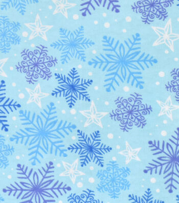 Snuggle Flannel Fabric 42''-Blue & Purple Snowflakes