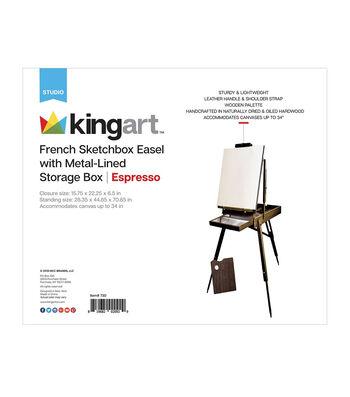 Wooden French Sketchbox Easel W/Metal Storage-Espresso