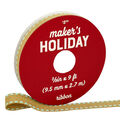 Maker\u0027s Holiday Christmas Ribbon 3/8\u0027\u0027x9\u0027-Natural with Light Blue Edge