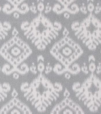 Anti-Pill Fleece Fabric 59''-White Aztec on Gray