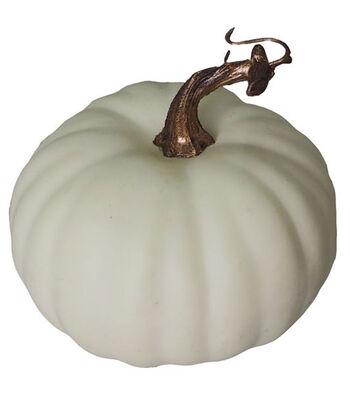 Blooming Autumn Medium Round Pumpkin-White