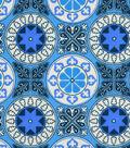 Snuggle Flannel Fabric -Purple & Blue Tile Medallion