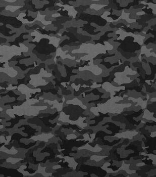 Super Snuggle Flannel Fabric-Gray & Black Camo