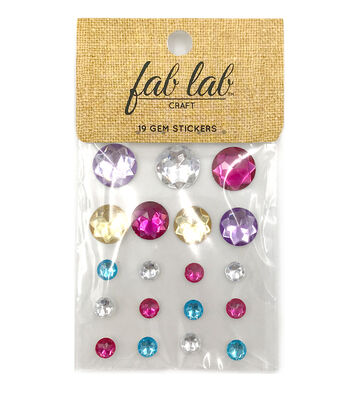 Adhesive Jewels Round Shapes Colors, 19pc.