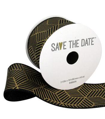 "Save the Date 2.5"" x 15ft Ribbon-Gold Geometric On Black"