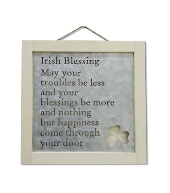 St. Patrick's Day Craft Wood Frame with Metal-Irish Blessing
