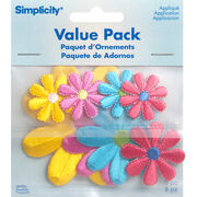 Simplicity Iron-On Applique-Assorted Daisy Flowers-Pack 8 pcs, , hi-res