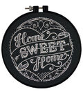 Learn-A-Craft Home Sweet Home Stamped Embroidery Kit-6\u0022 Round Stitched In Thread