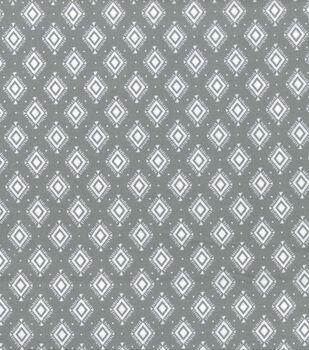 Wide Flannel Fabric -Gray White Diamond
