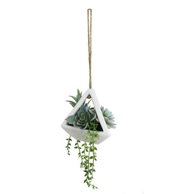 Hello Spring Floral Succulent in White Hanging Decor Container