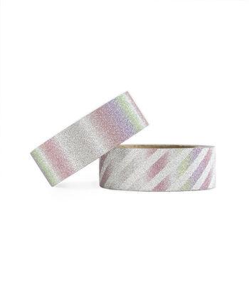 Park Lane 2 pk Glitter Washi Tapes 0.6''x5 yds-Iridescent