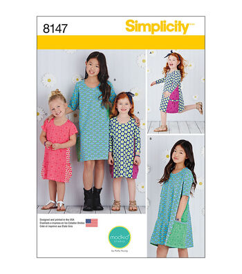 Simplicity Pattern 8147 Children's/Girls' Knit Dresses-Size HH (3-4-5-6)