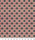 Patriotic Cotton Fabric-Flag Square Rustic