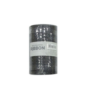 Decorative Ribbon Metallic Deco Mesh 5.5''x10 yds-Black