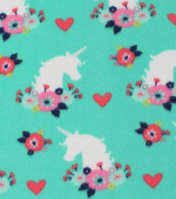 Blizzard Fleece Fabric 59''-Floral & Unicorn Silhouette