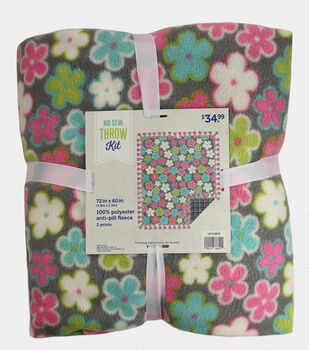 "No Sew Fleece Throw 72""-Icing Floral"
