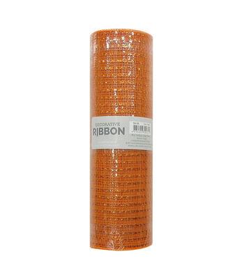 Decorative Ribbon Metallic Deco Mesh 10''x10 yds-Orange