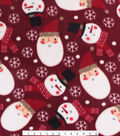 Christmas Anti-Pill Plush Fleece Fabric-Santa\u0027s & Snowmen