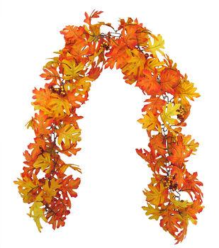 Blooming Autumn 66'' Oak Leaf & Chai Berry Garland-Orange