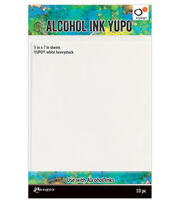 Tim Holtz 10 pk 5''x7'' Heavy Stock Alcohol Ink Yupo Papers-White, , hi-res