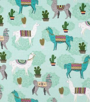 Super Snuggle Flannel Fabric-Desert Llama on Aqua