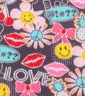 Anti-Pill Fleece Fabric 59\u0022-Smiley And Peace Graffiti