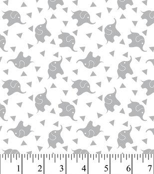 Nursery Flannel Fabric -Elephant Confetti Gray