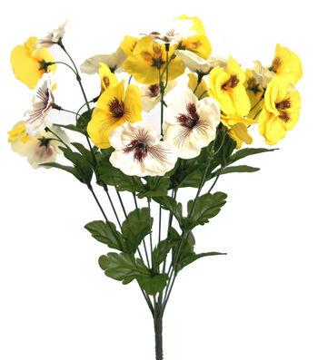 Fresh Picked Spring 19'' Pansy Bush-Yellow & White