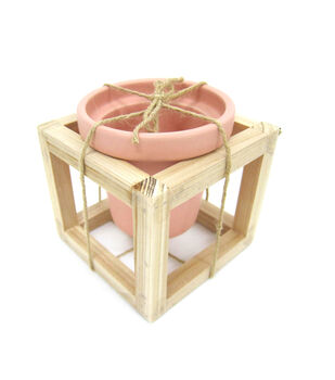 Hello Spring Gardening Pot with Wood Frame-Peach