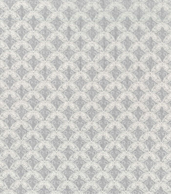 Easter Spring Pastels Cotton Fabric-Scrolls Grey