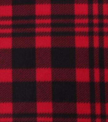 "Blizzard Fleece Fabric 59""-Luke Red & Black Plaid"