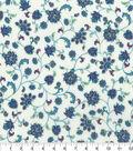 Premium Cotton Fabric-Budding Flower Vine on Cream