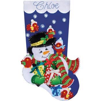 Design Works Felt Applique Kit Snowman& Cardinals Stocking