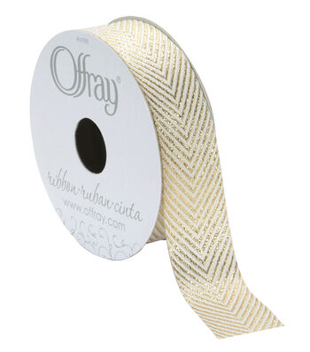 Offray Woven Ribbon 7/8''x9'-Gold Chevrons on White