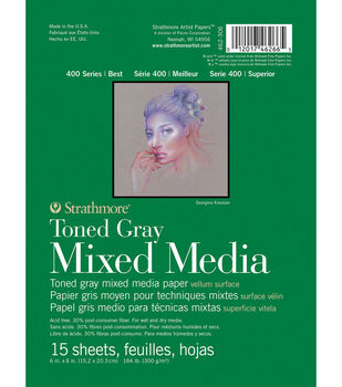 Strathmore 400 Series 15-sheet 6''x8'' Mixed Media Paper Pad-Toned Gray