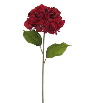 Blooming Autumn 27'' Single Hydrangea Stem-Red
